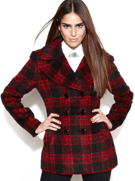 Bcbgeneration Double Breasted Plaid Pea Coat In Red Lyst