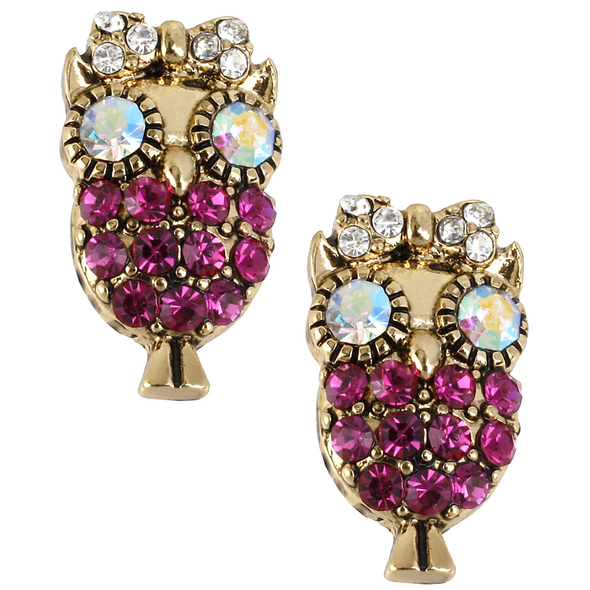 5f59c44c49147 Lyst - Betsey Johnson Antique Gold-tone Owl Stud Earrings in Metallic
