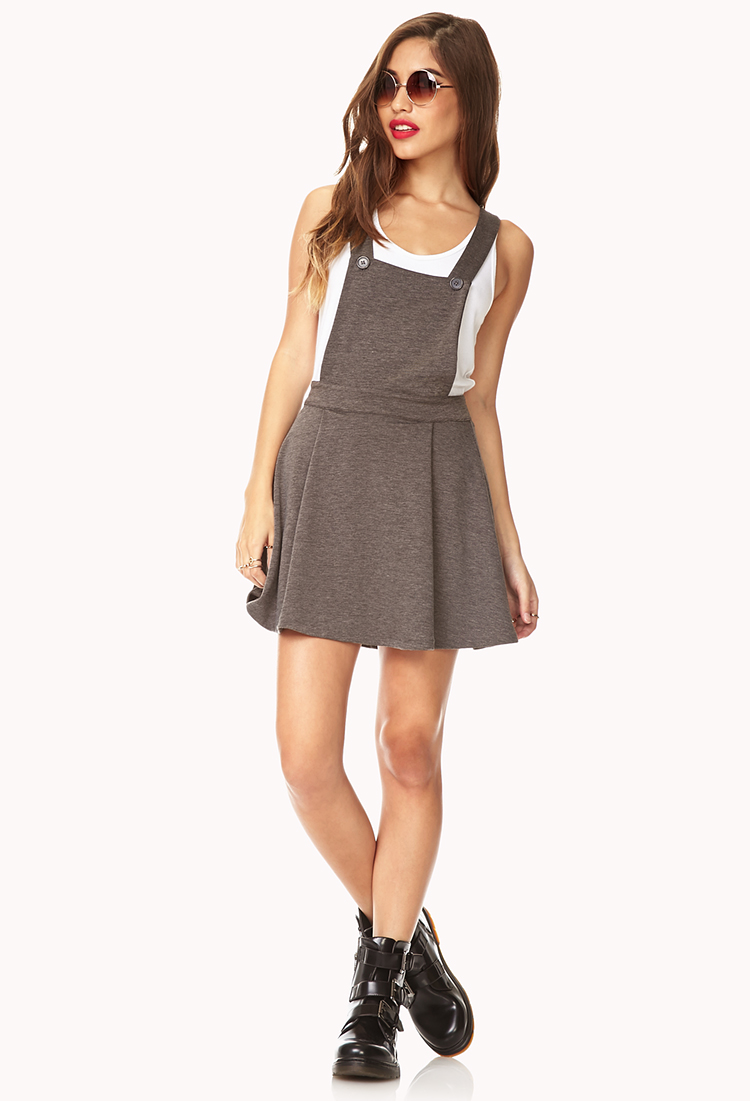 Forever 21 No Fuss Overall Dress In Charcoal Gray Lyst