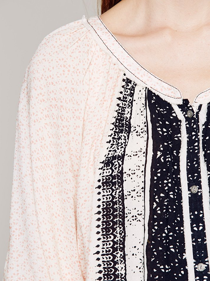 Free People Printed Rayon Of Days Romance Top in Ivory Combo (Natural)