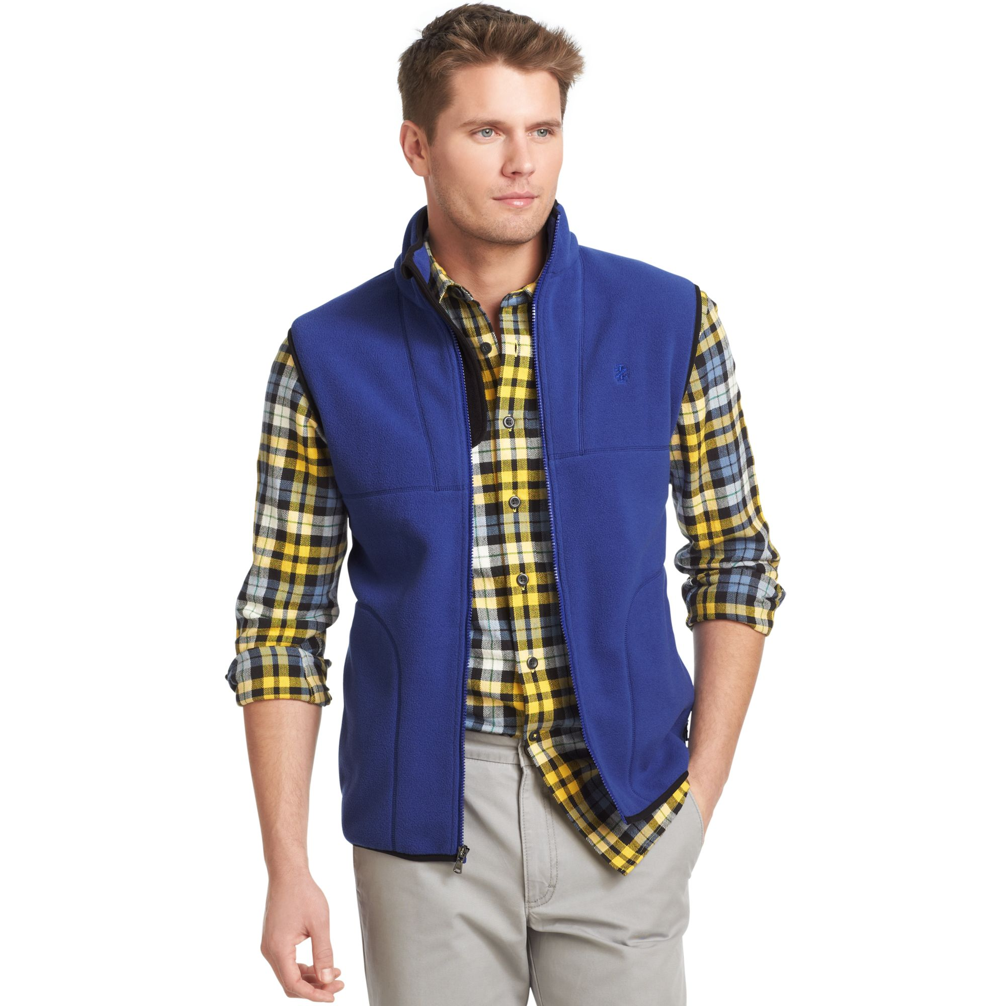 Izod Big And Tall Vest Zipfront Polar Fleece Vest In Blue