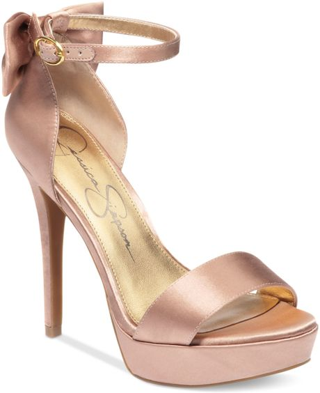 Jessica Simpson Bowie Platform Dress Sandals in Pink (Blush Satin)