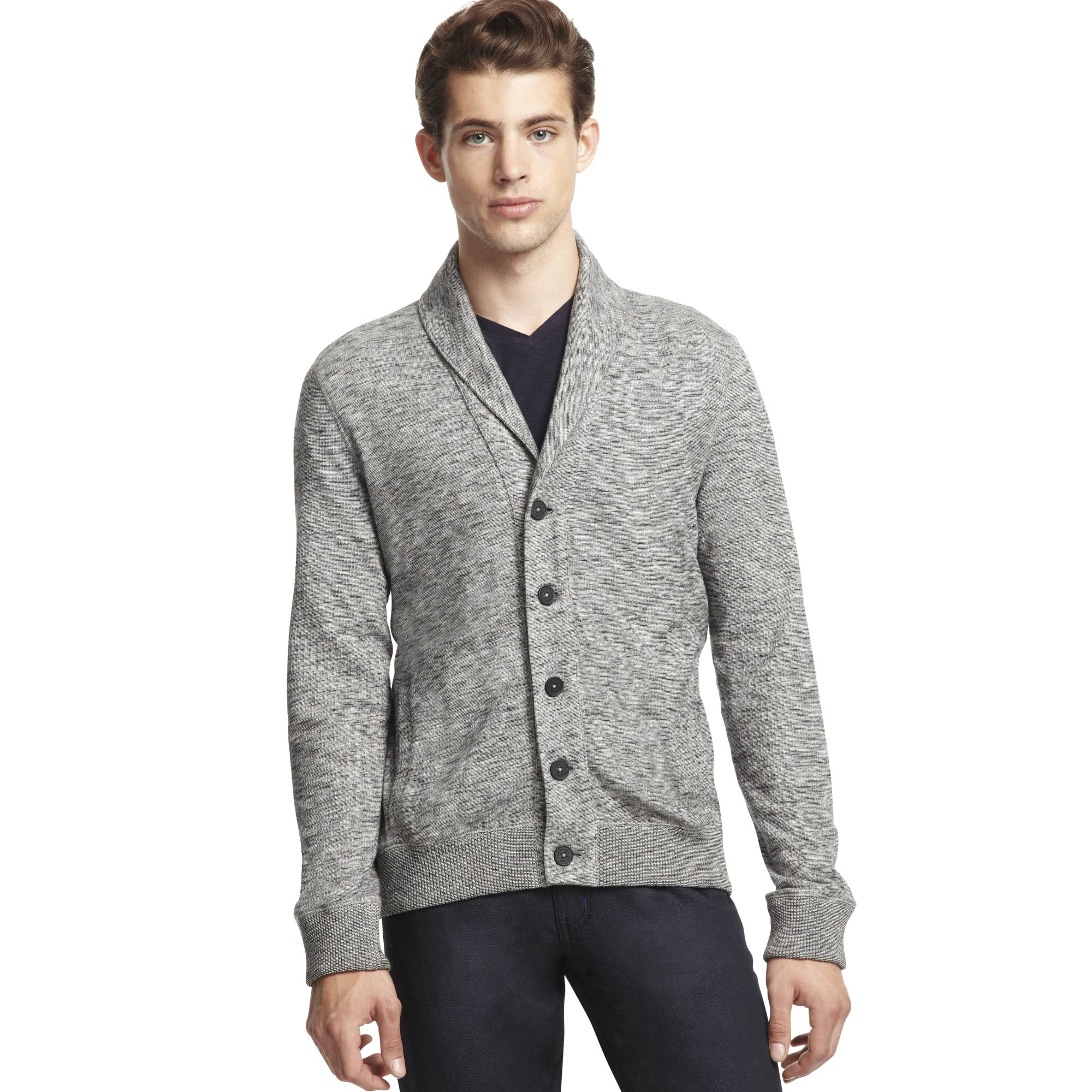 Kenneth cole reaction Long Sleeve Shawl Cardigan Sweater in Gray ...