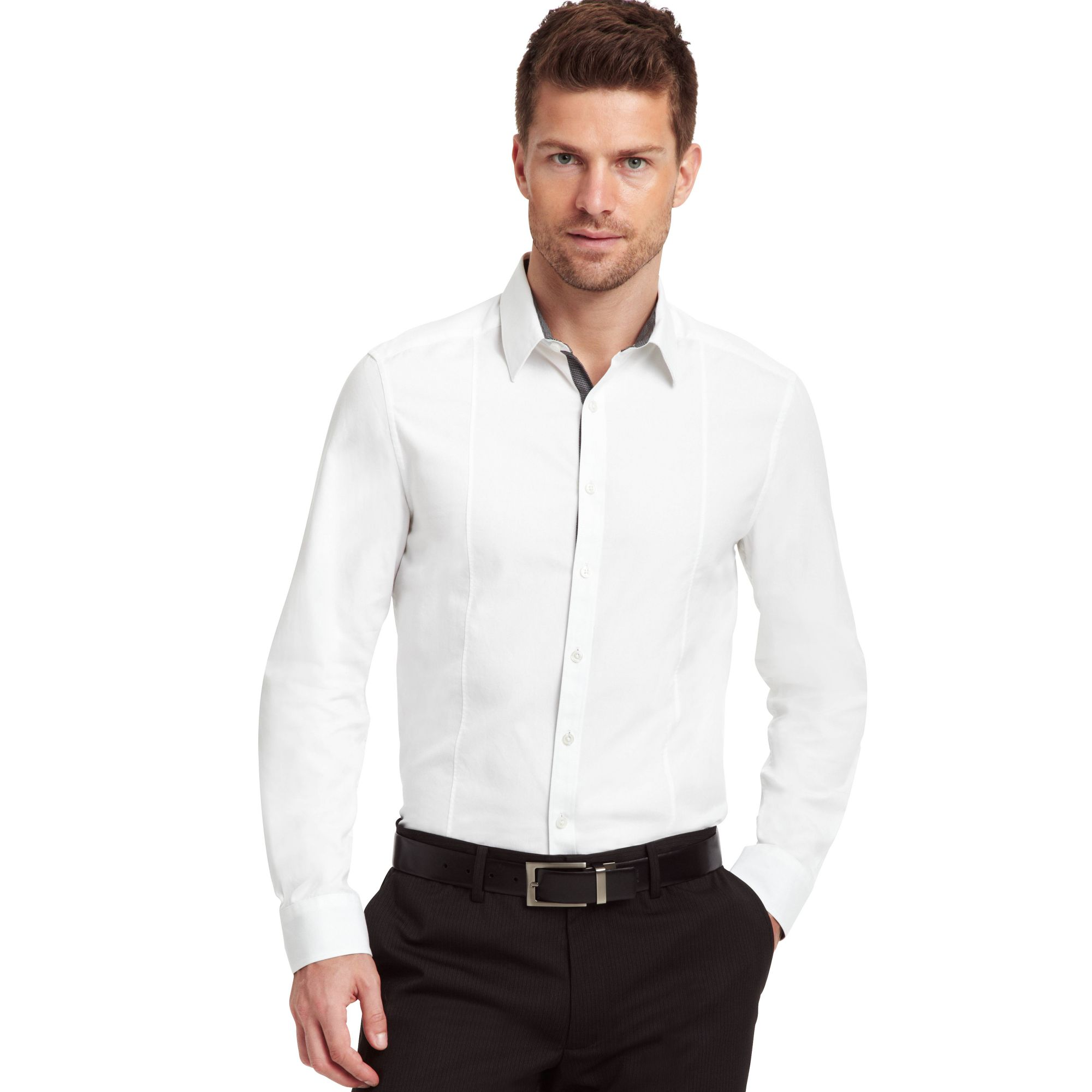 Kenneth Cole Long Sleeve Oxford Shirt In White For Men Lyst