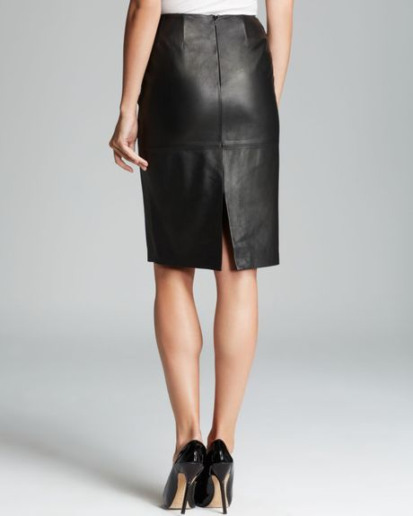lafayette 148 new york modern slim leather skirt in black