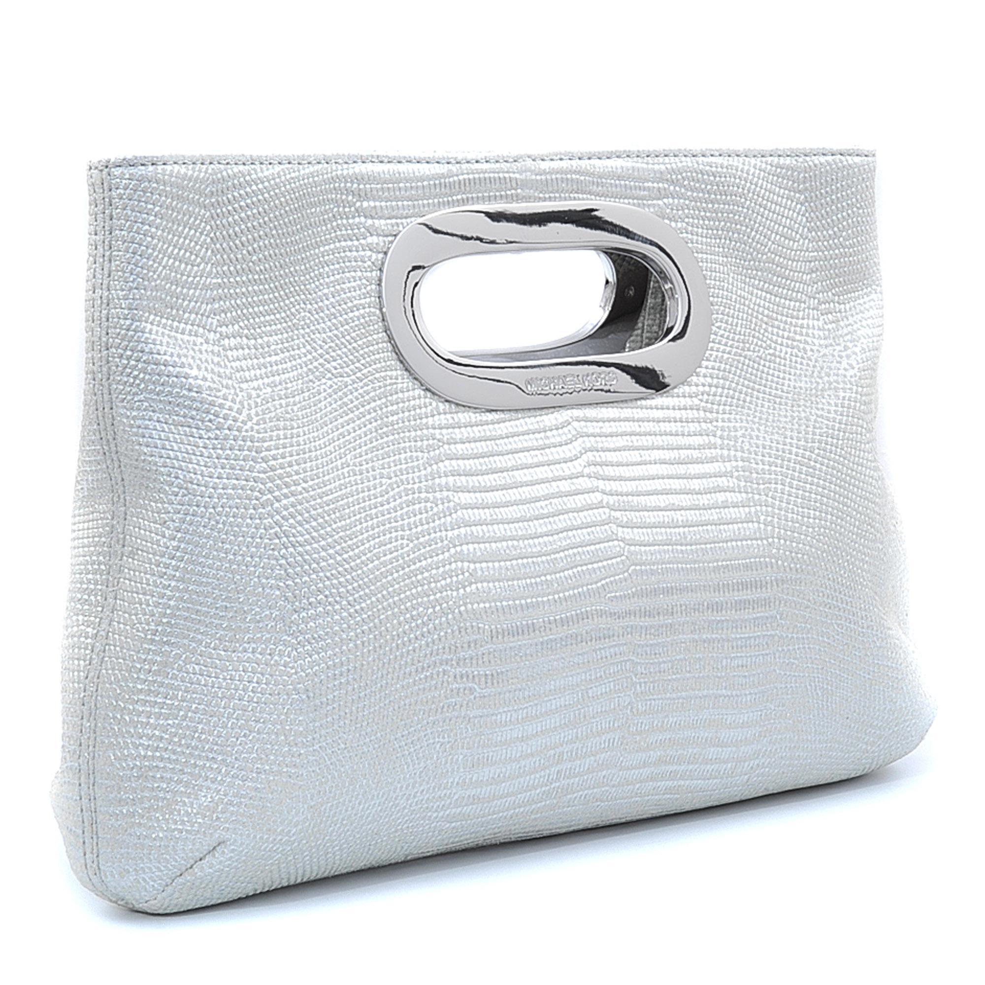 michael kors berkley clutch in silver lyst. Black Bedroom Furniture Sets. Home Design Ideas