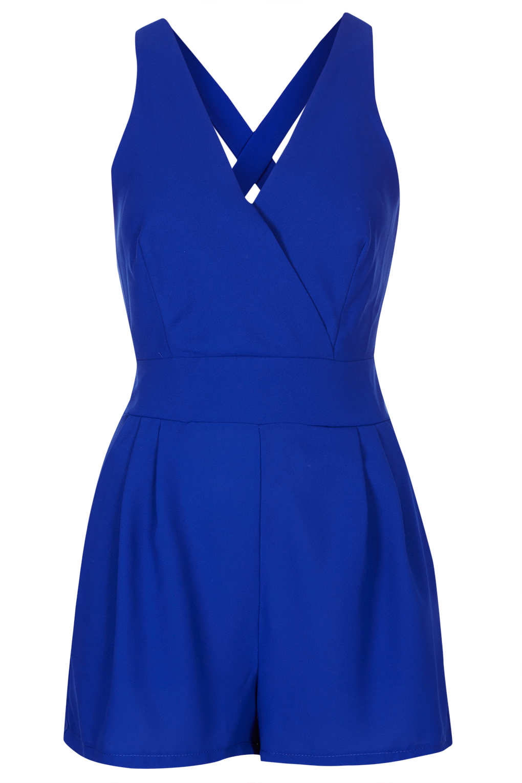 Lyst Topshop Cross Back Playsuit By Love In Blue