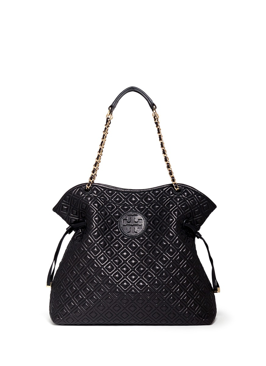 tory burch marion quilted leather slouchy tote in black