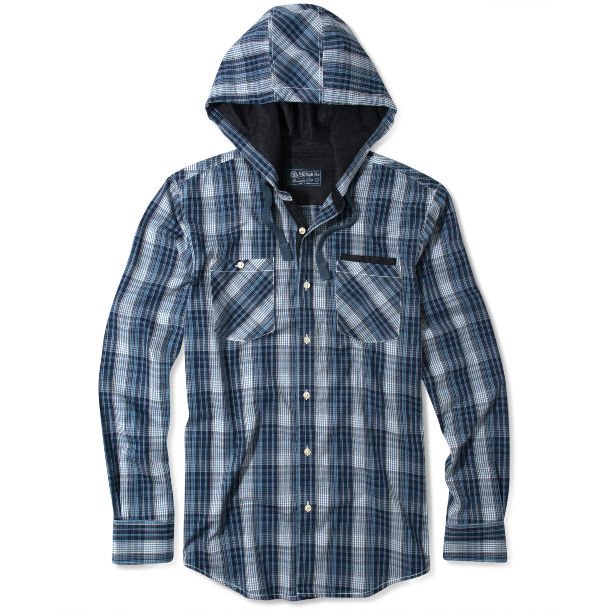 American Rag Hooded Plaid Long Sleeve Shirt In Blue For