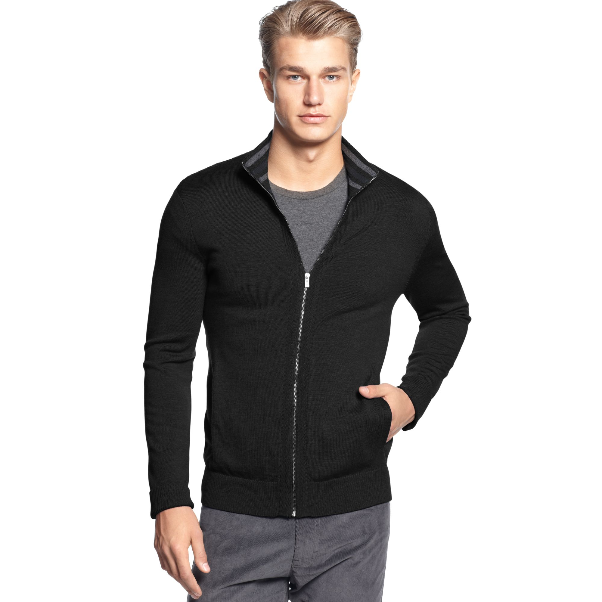 calvin klein full zipper merino sweater in black for men. Black Bedroom Furniture Sets. Home Design Ideas
