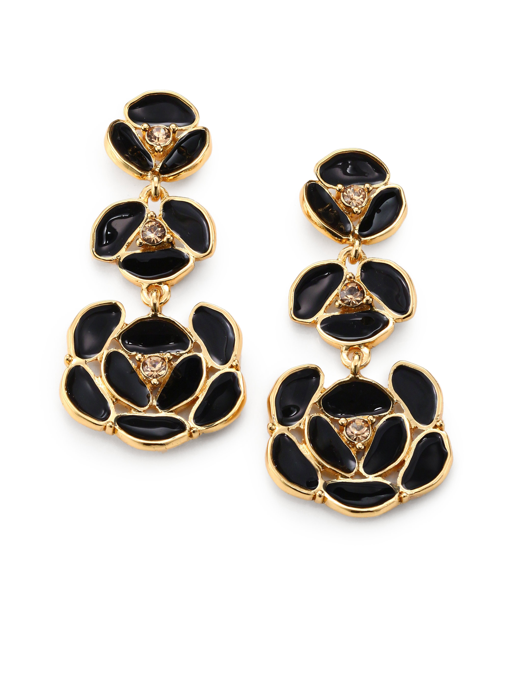 Kate Spade Enamel Pansy Drop Earrings In Metallic Lyst