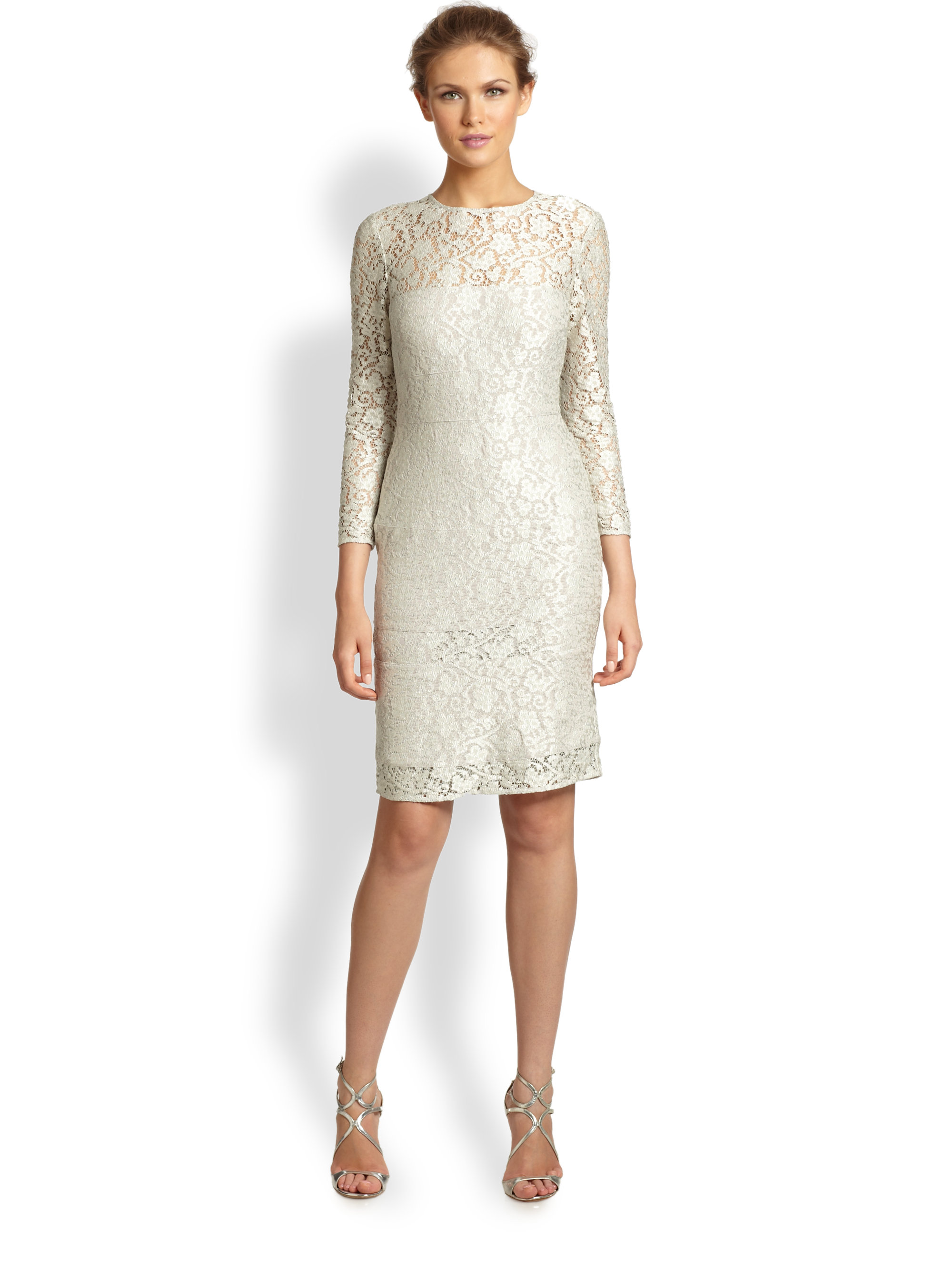 Kay unger Lace Cocktail Dress in Natural | Lyst