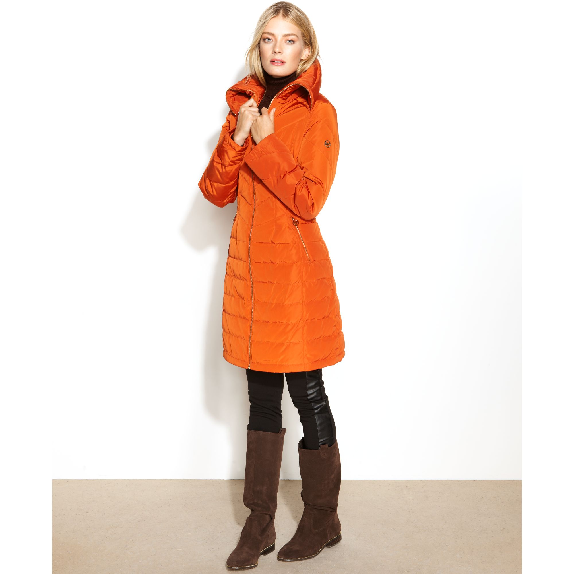 Lyst - Michael kors Quilted Longlength Puffer in Orange : quilted long down coat - Adamdwight.com