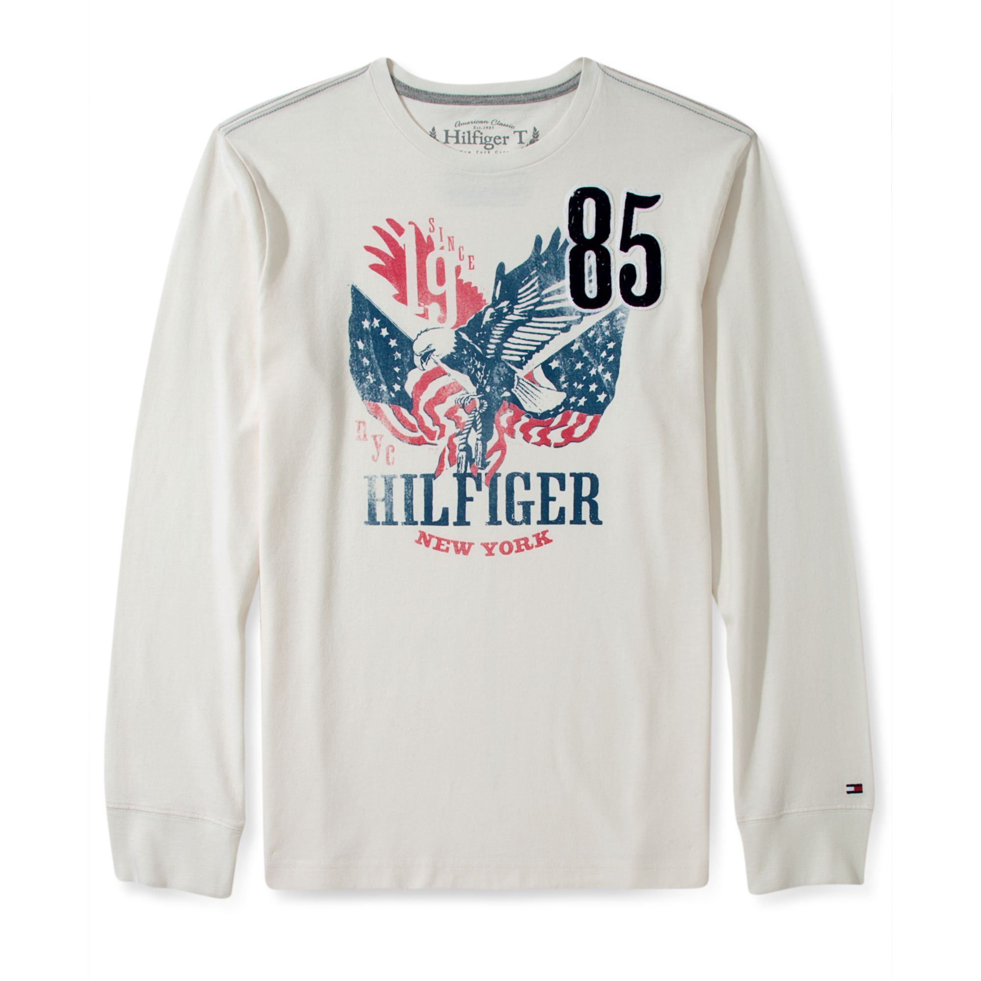 tommy hilfiger long sleeve brody t shirt in white for men fence white. Black Bedroom Furniture Sets. Home Design Ideas