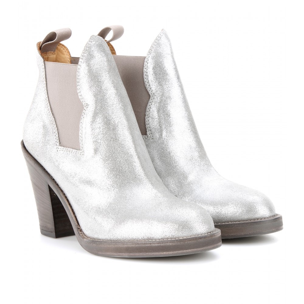e8e9077d7 Acne Studios Star Metallic Leather Ankle Boots in Metallic - Lyst