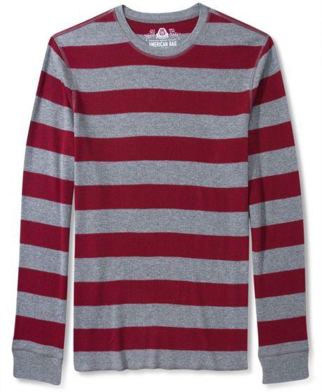 American rag rugby stripe thermal long sleeve shirt in for Long sleeve striped rugby shirt