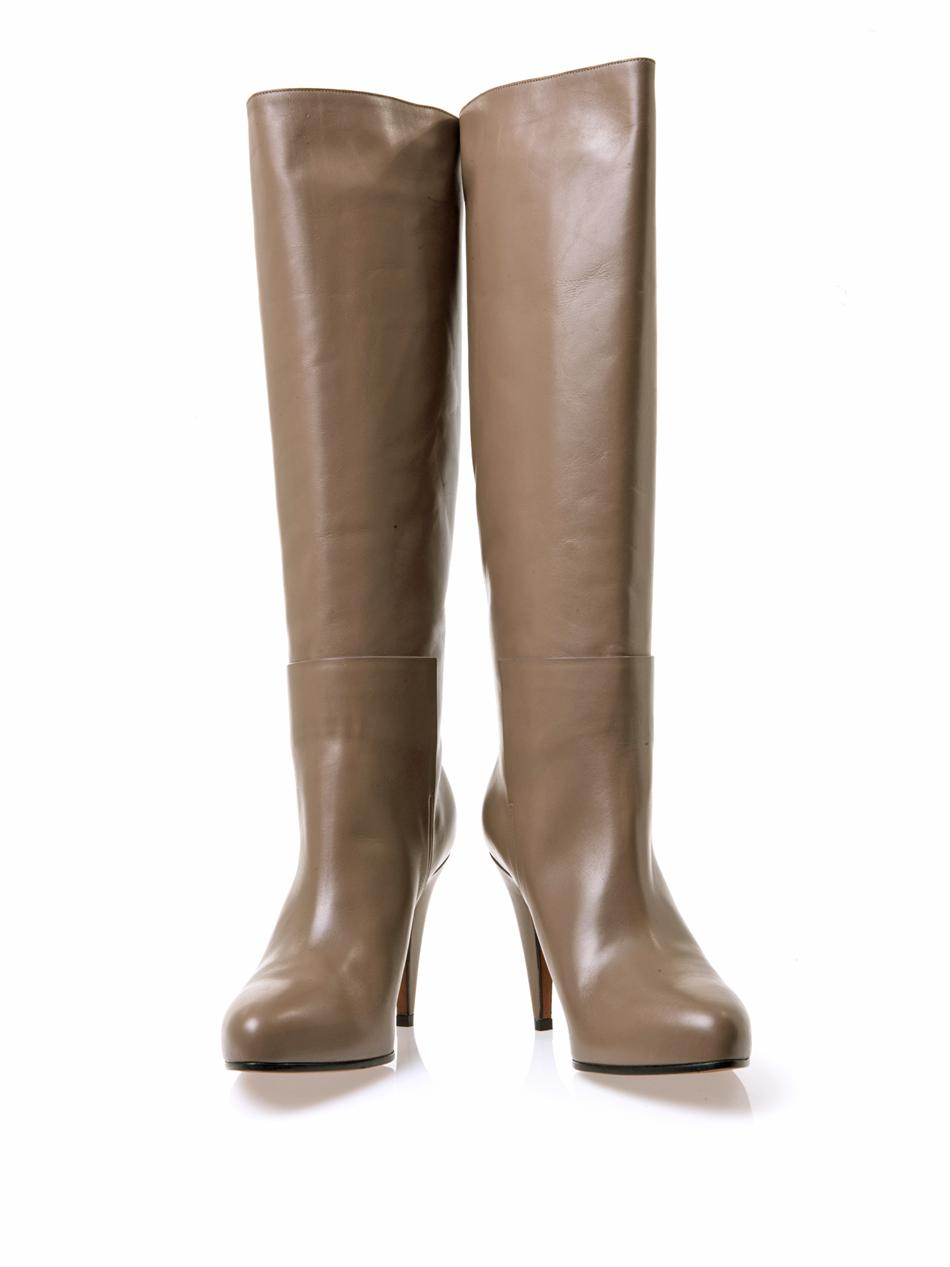 Balenciaga New Easy Leather Knee-High Boots in Brown
