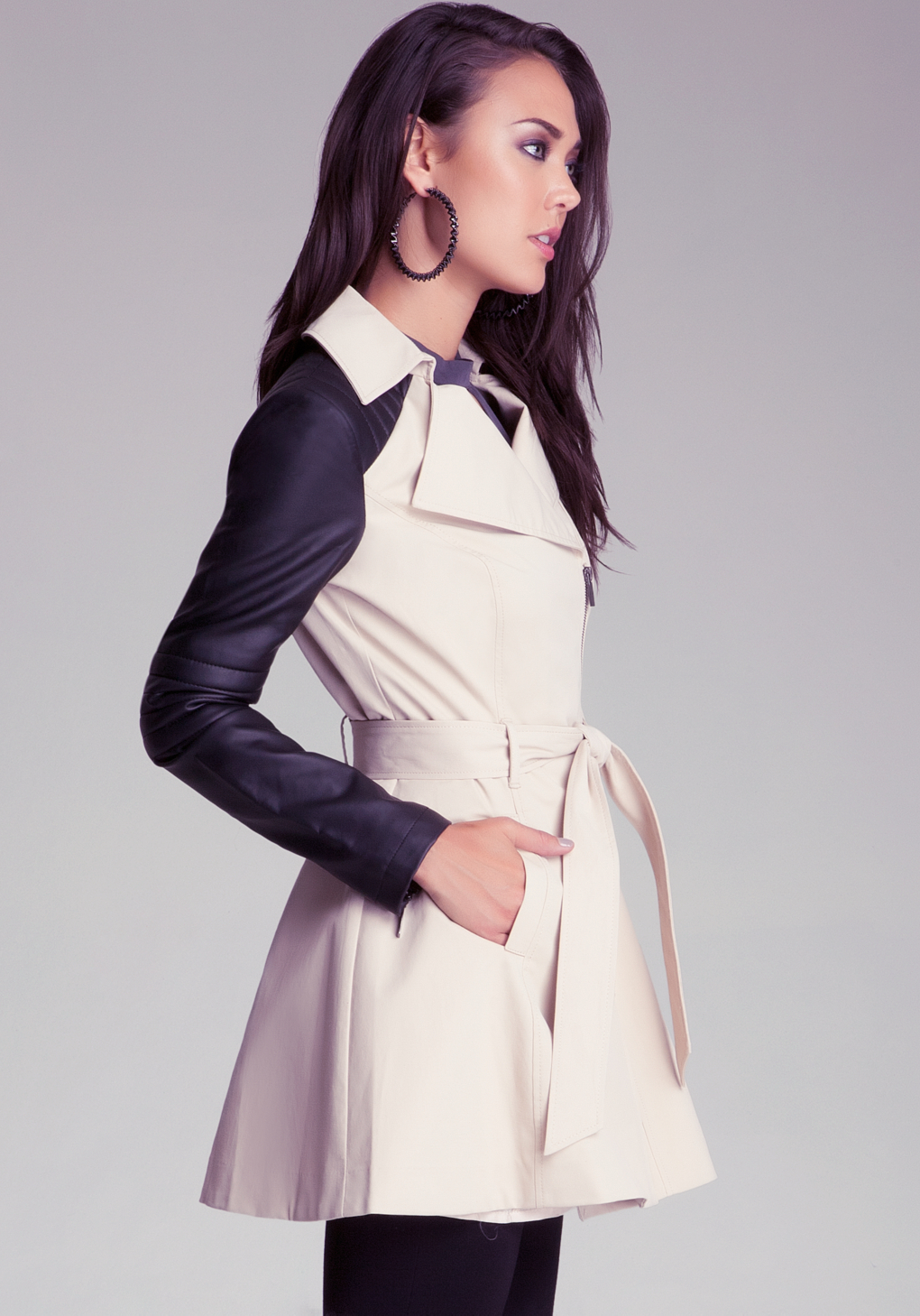 Bebe Contrast Trench Coat In Natural Lyst