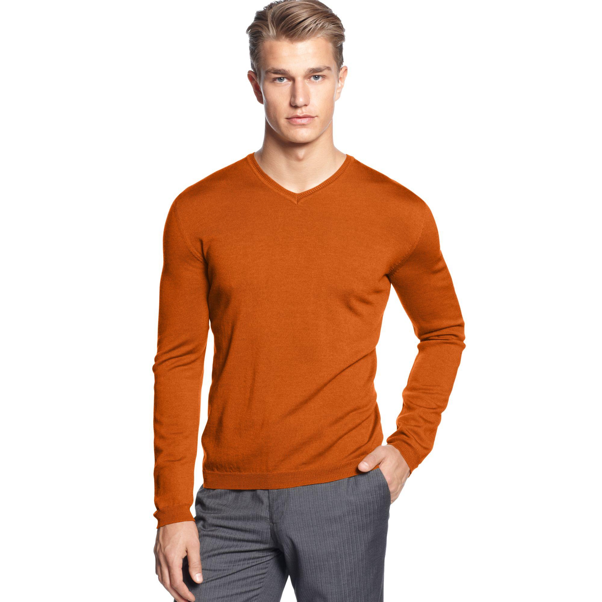 lyst calvin klein solid merino v neck sweater in orange. Black Bedroom Furniture Sets. Home Design Ideas