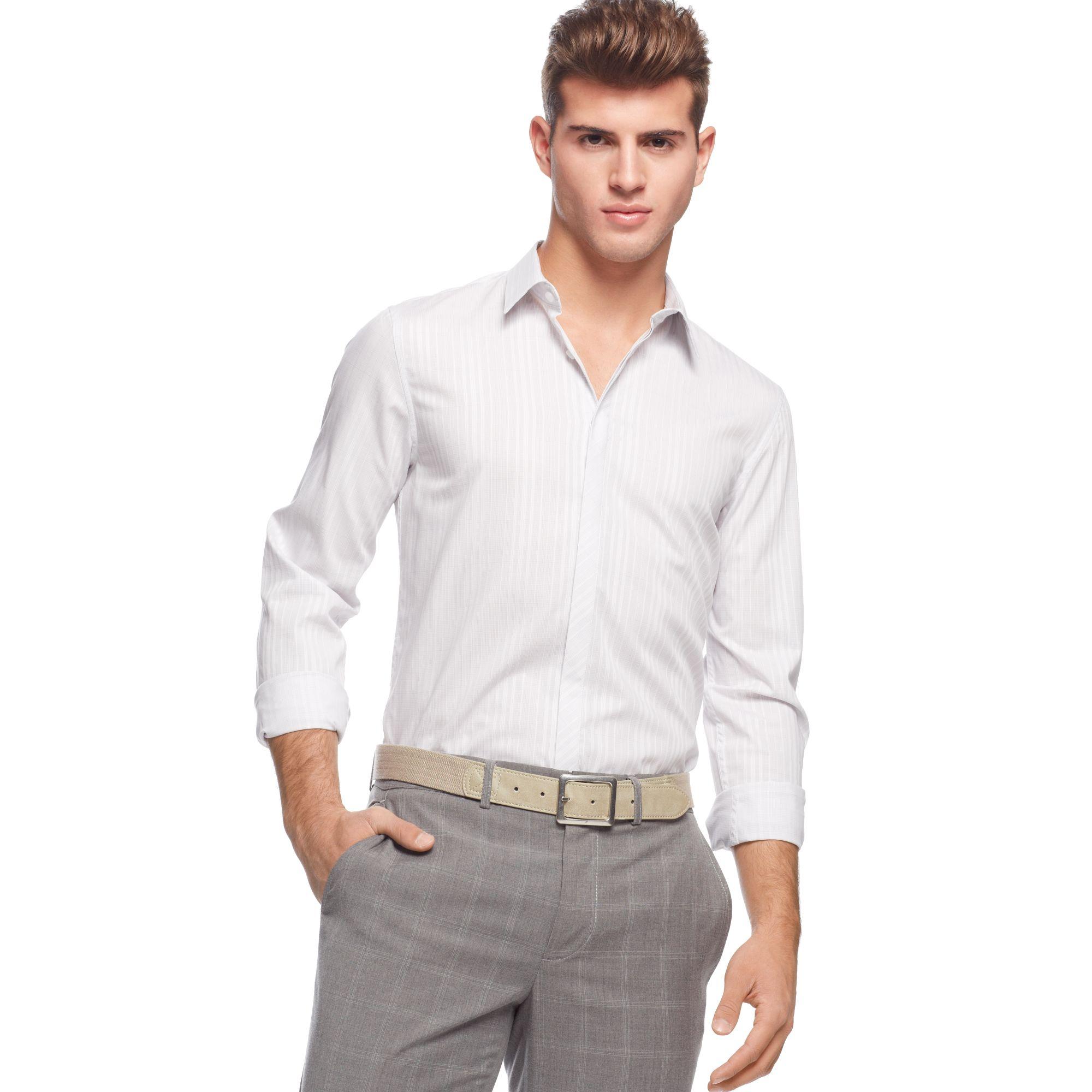Lyst Calvin Klein Long Sleeve Slim Fit Check Shirt In White For Men