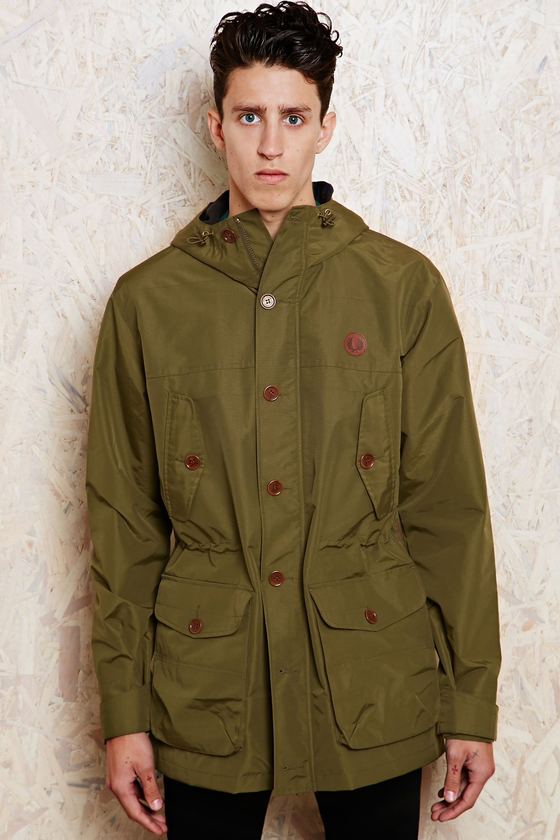 lyst fred perry mountain parka in dark olive in natural. Black Bedroom Furniture Sets. Home Design Ideas