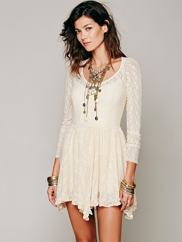 Free People Intimately Womens Look Both Ways Lace Slip In