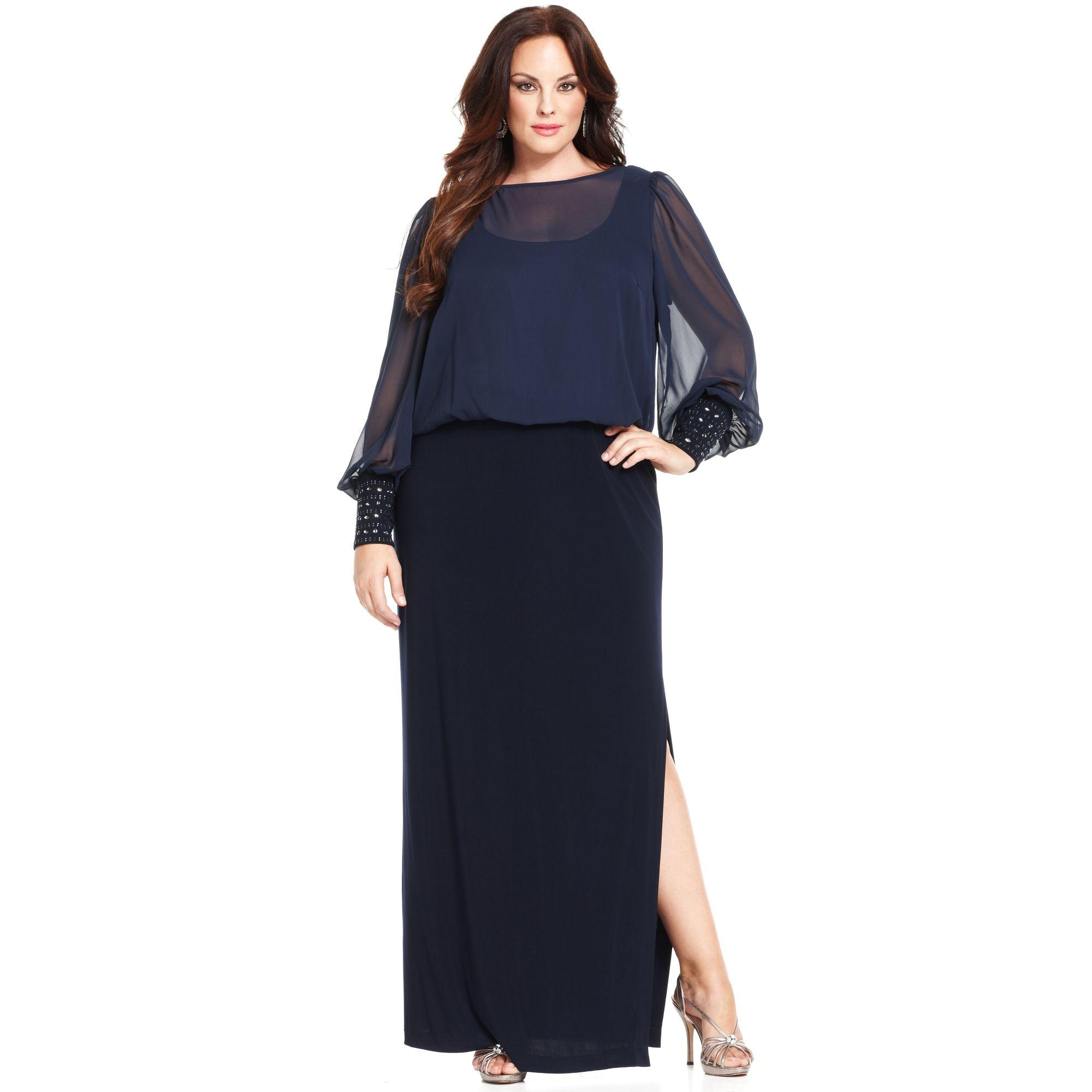 Xscape Blue Plus Size Dress Longsleeve Blouson Gown