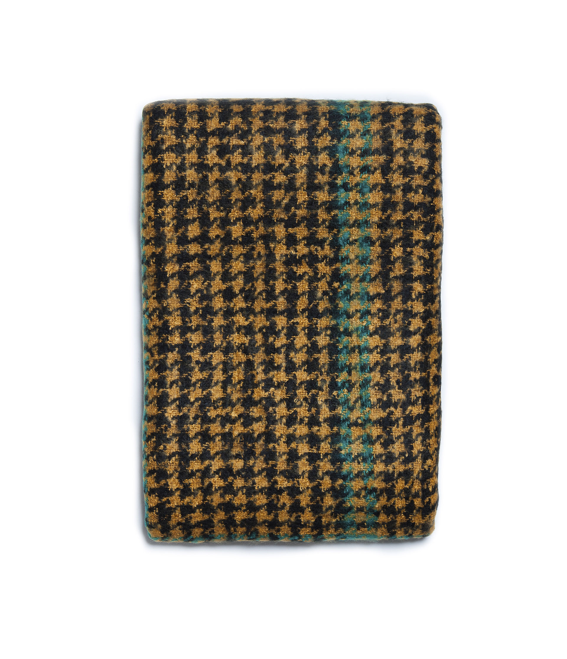 Zara Houndstooth Scarf With A Coloured Stripe In Yellow