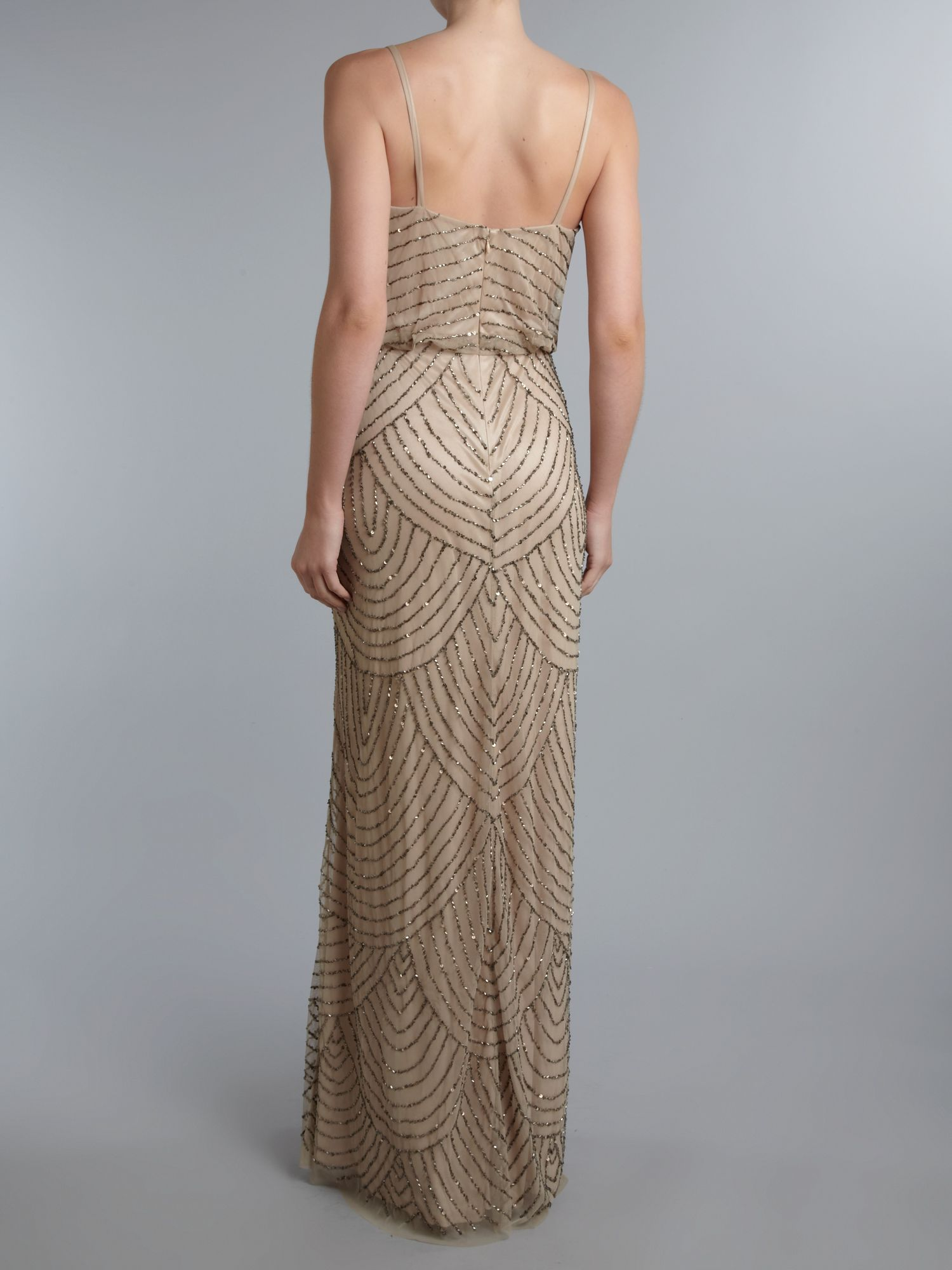 Adrianna papell Art Deco Beaded Dress in Brown