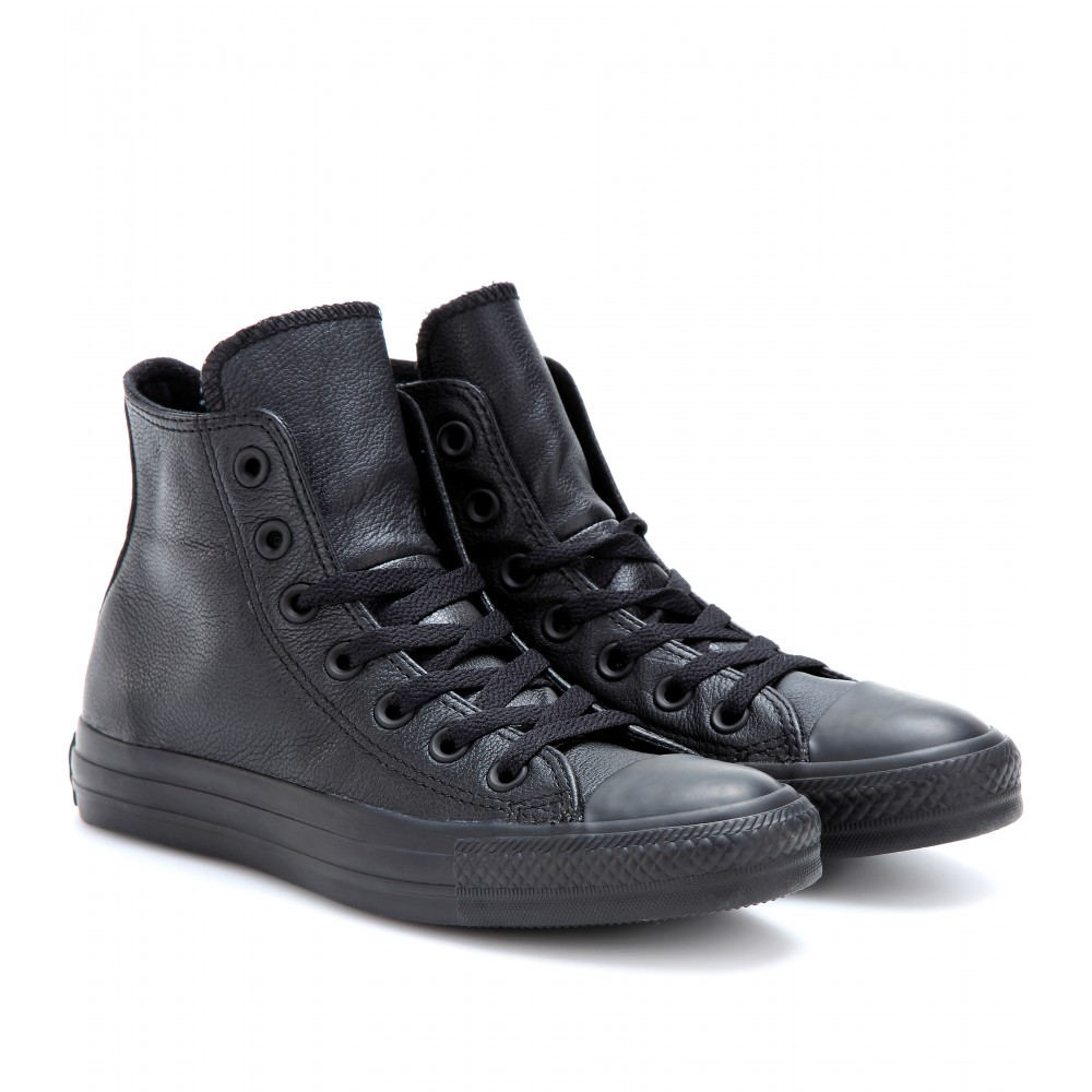 black leather high tops converse