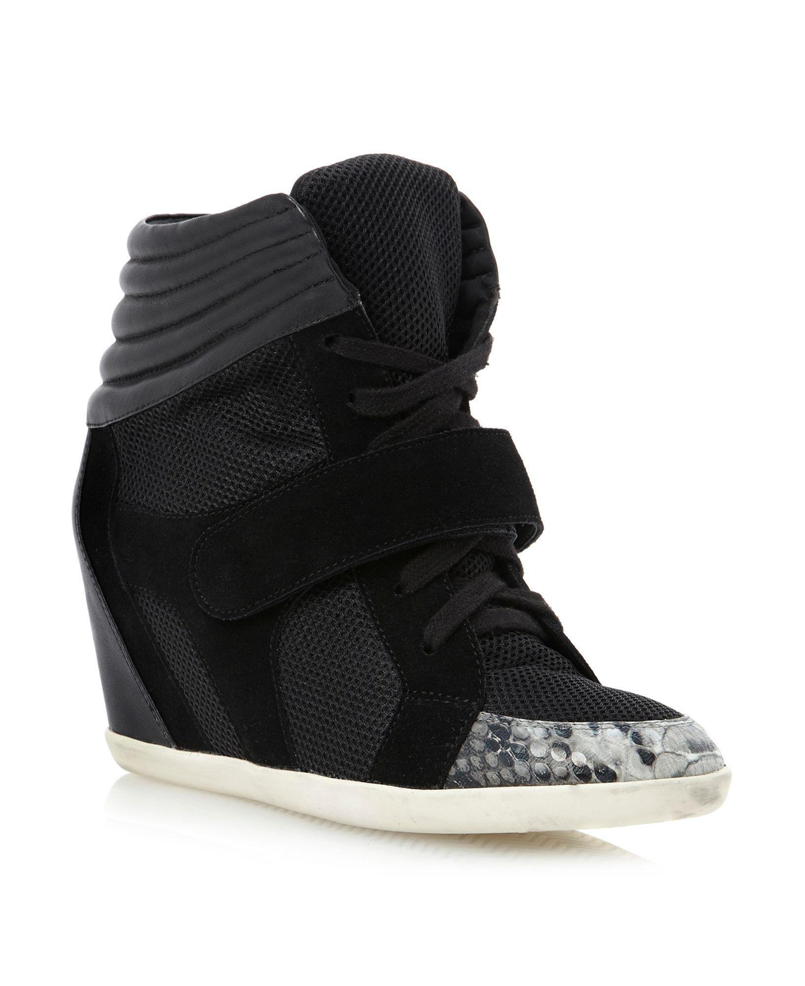 dune lennox snake toe sports wedge shoes in black black