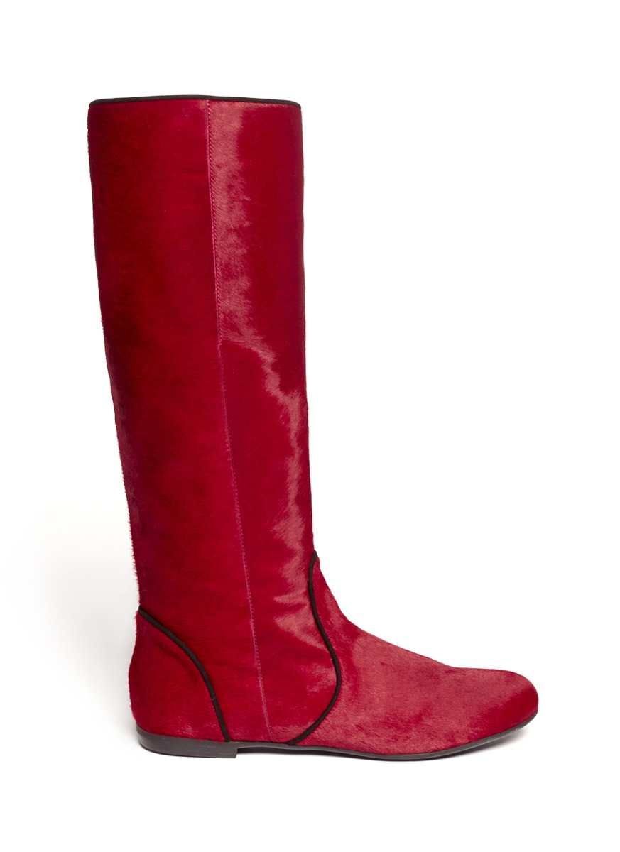 Giuseppe Zanotti Contrast Piping Pony Hair Boots in Red