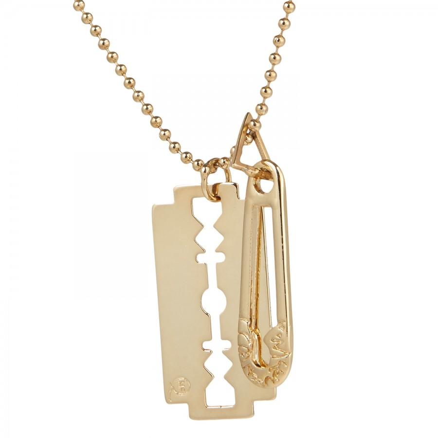 McQ Razor Pendant Necklace in Gold (Metallic)