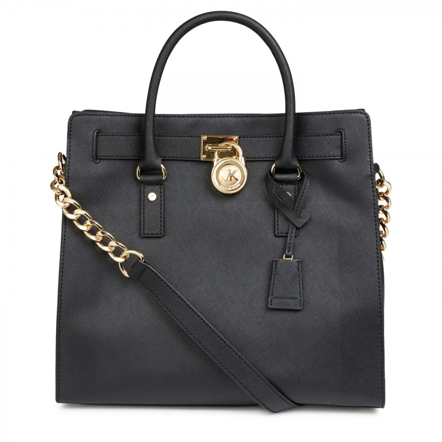 michael kors hamilton saffiano leather tote in black lyst. Black Bedroom Furniture Sets. Home Design Ideas