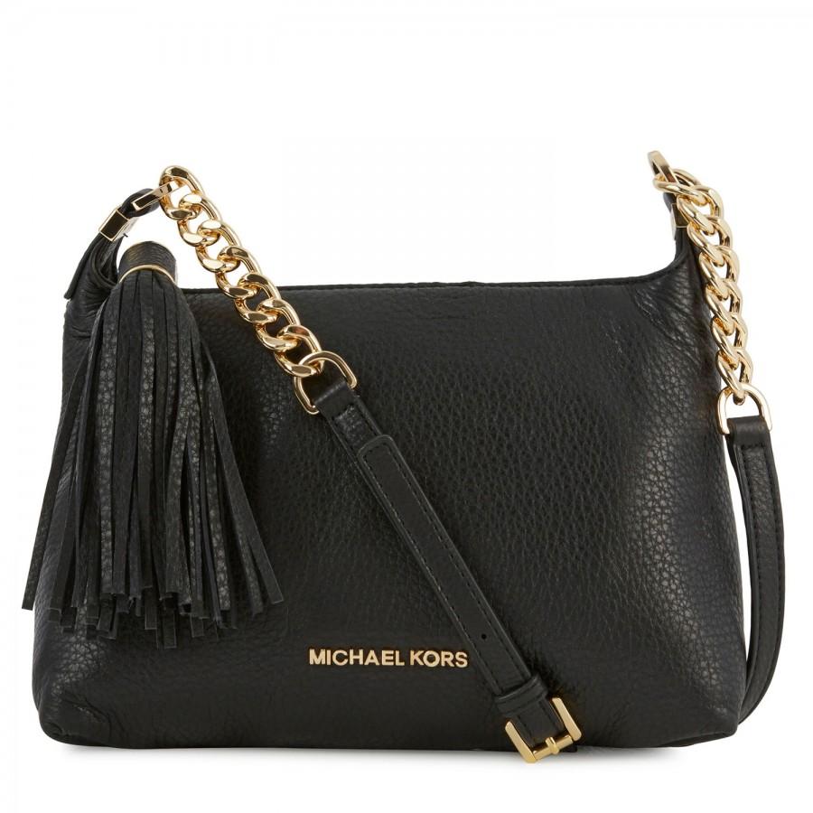d28ca5baad6e Michael Kors Weston Grained Leather Crossbody Bag in Black - Lyst