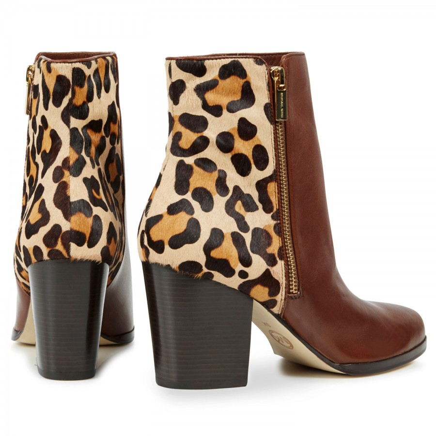 Michael Kors Silvy Calf Hair and Leather Ankle Boots in Brown