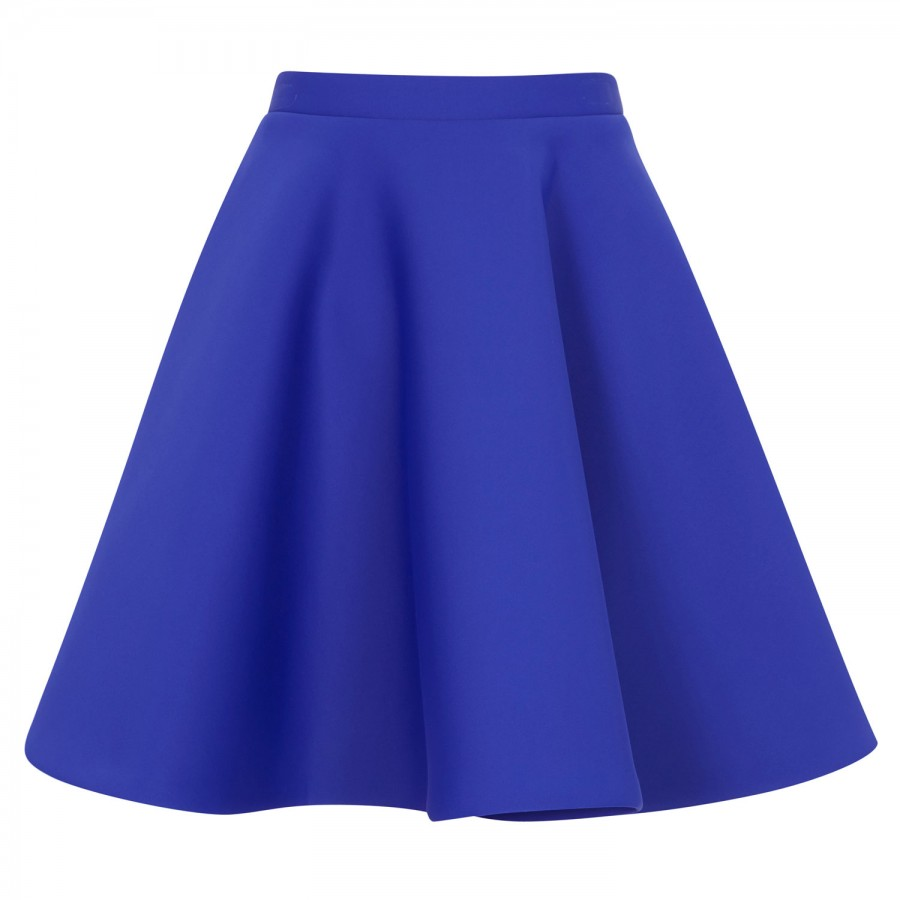 msgm a line neoprene skirt in blue lyst