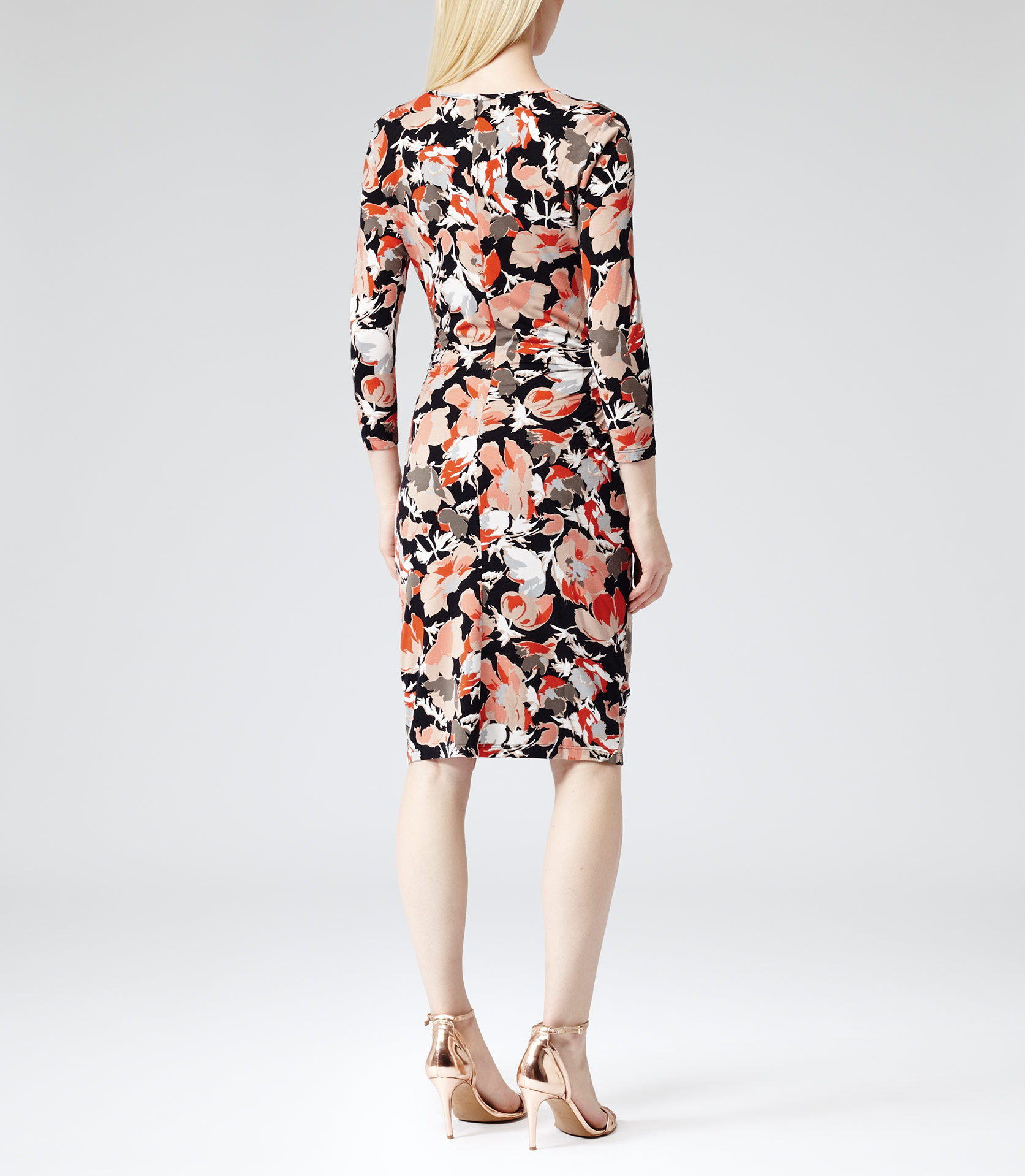 Reiss Zizzi Long Sleeve Printed Dress In Neon Orange