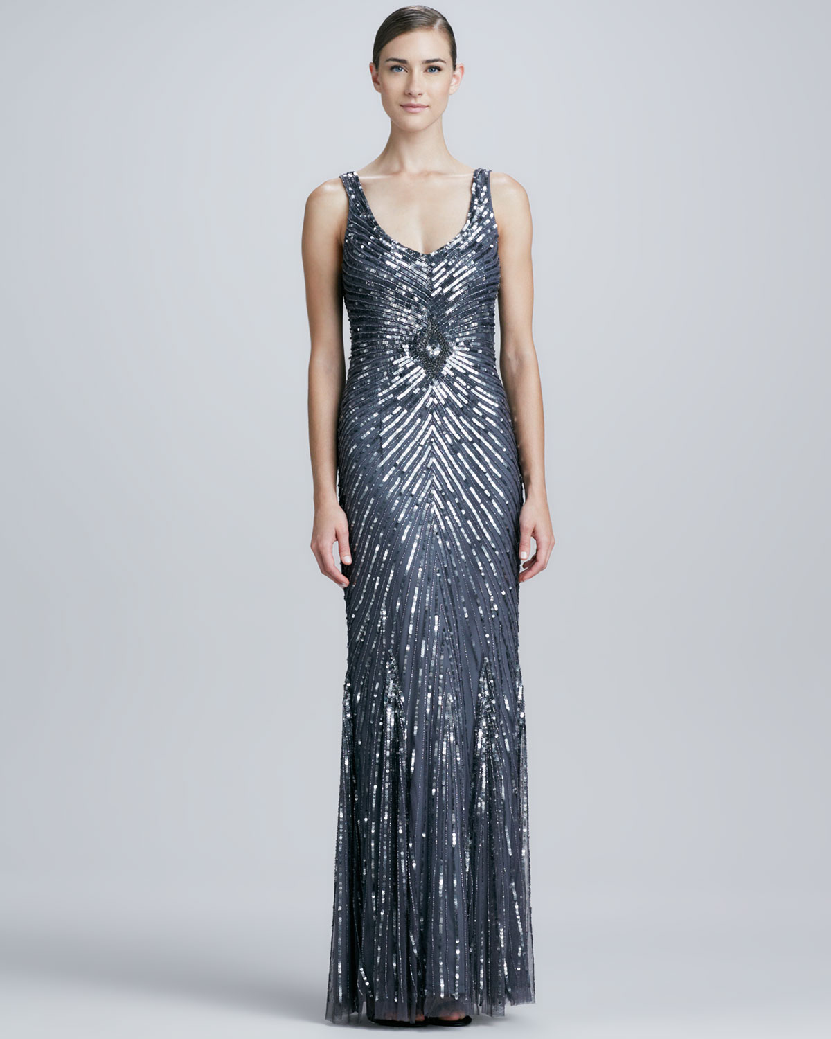 Aidan mattox Chevron Sequined Beaded Gown in Blue | Lyst
