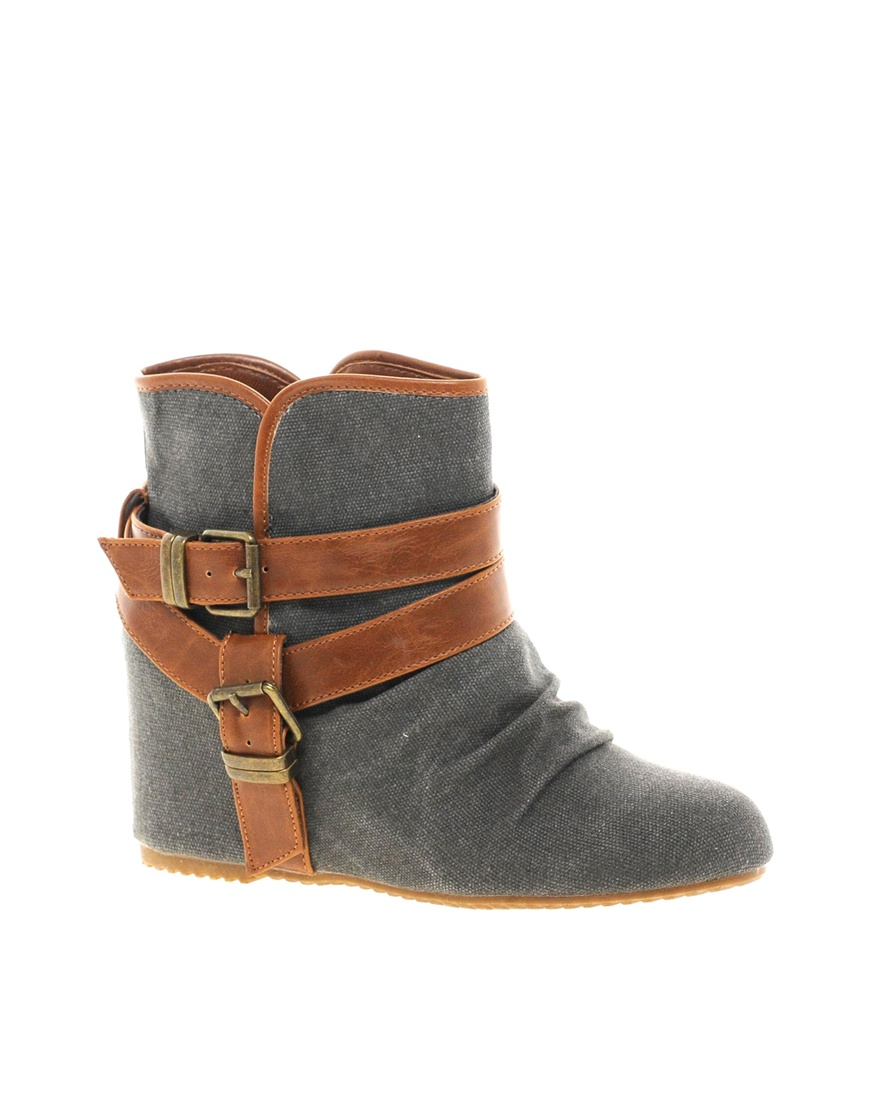 675e00158c2e3 ALDO Elyta Grey Strap Wedge Ankle Boots in Gray - Lyst