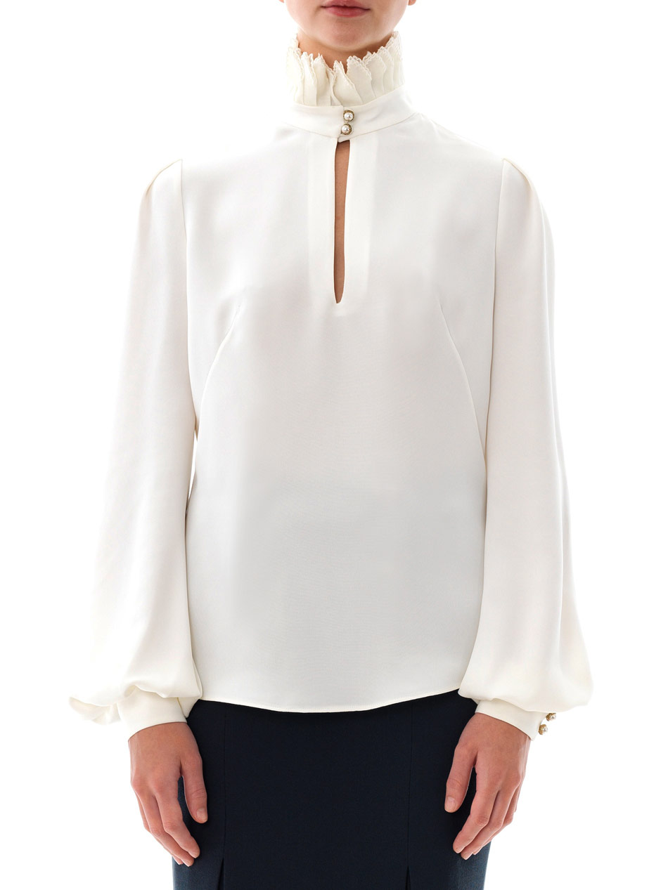 ea9d0bffce8239 Lyst - Alexander McQueen Pleated High-Neck Blouse in White