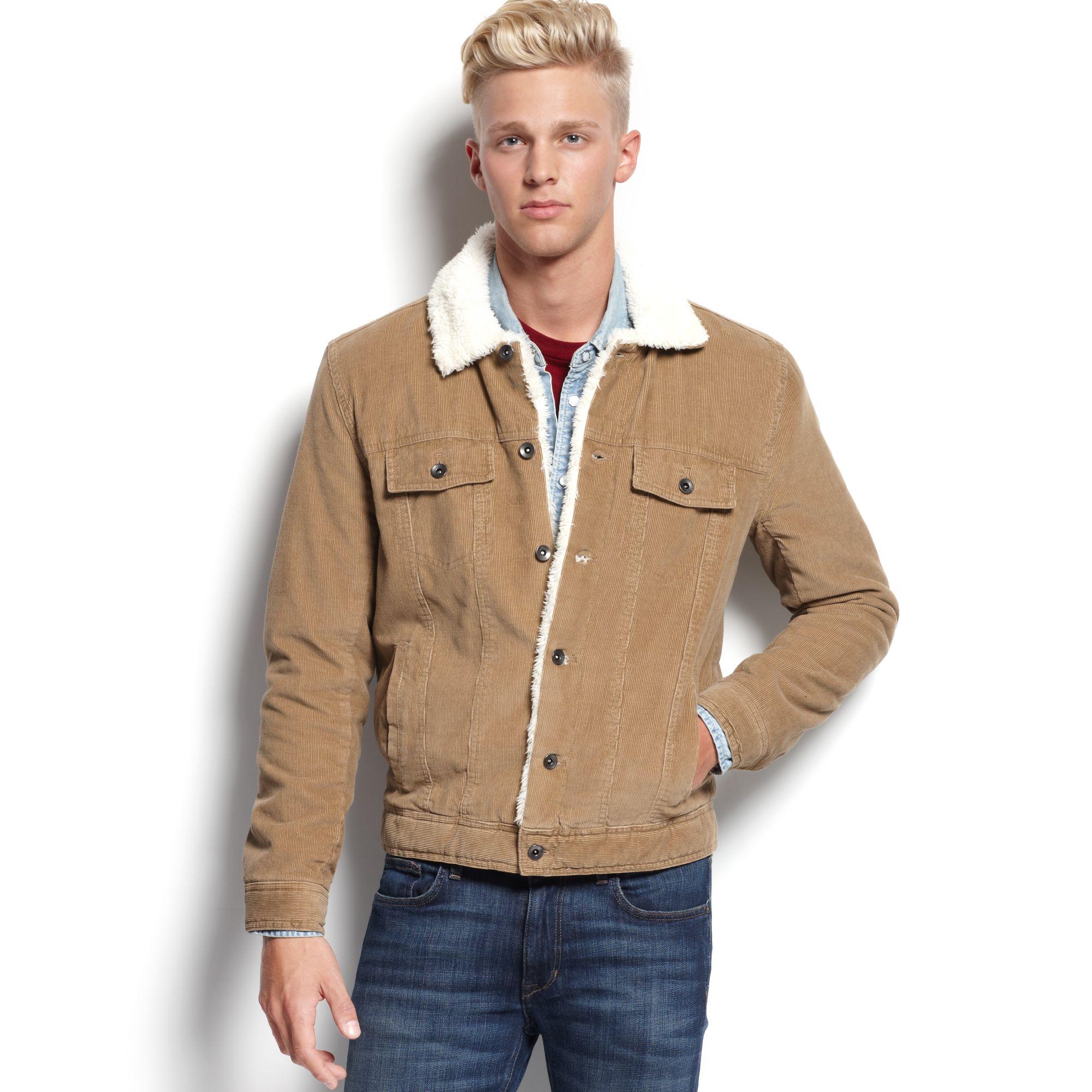 American rag Sherpa Lined Corduroy Jacket in Brown for Men | Lyst