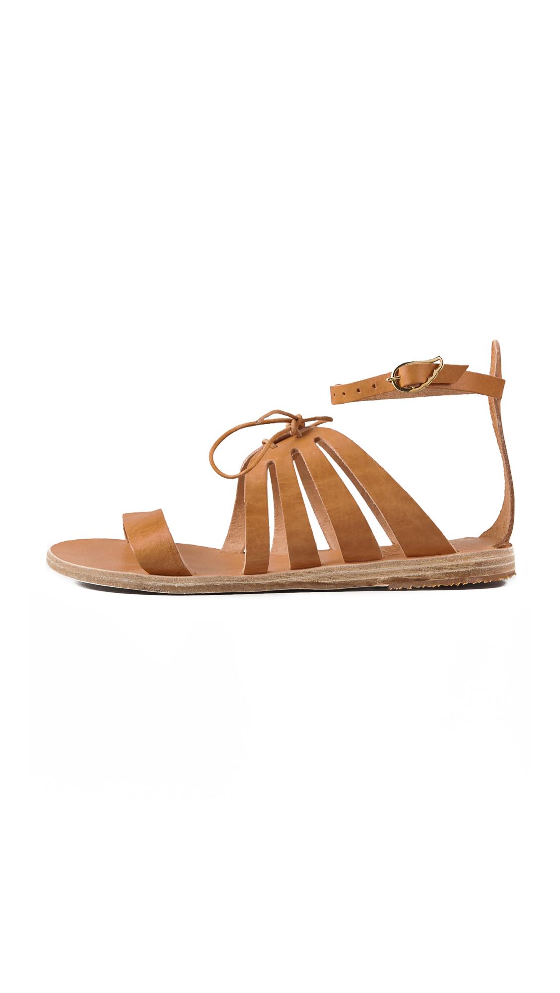 Lyst Ancient Greek Sandals Iphigenia Flat Sandals In Natural