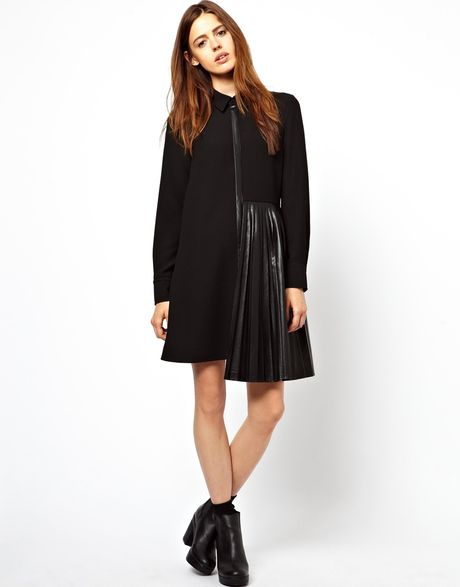 asos shirt dress with leather look pleated skirt in black
