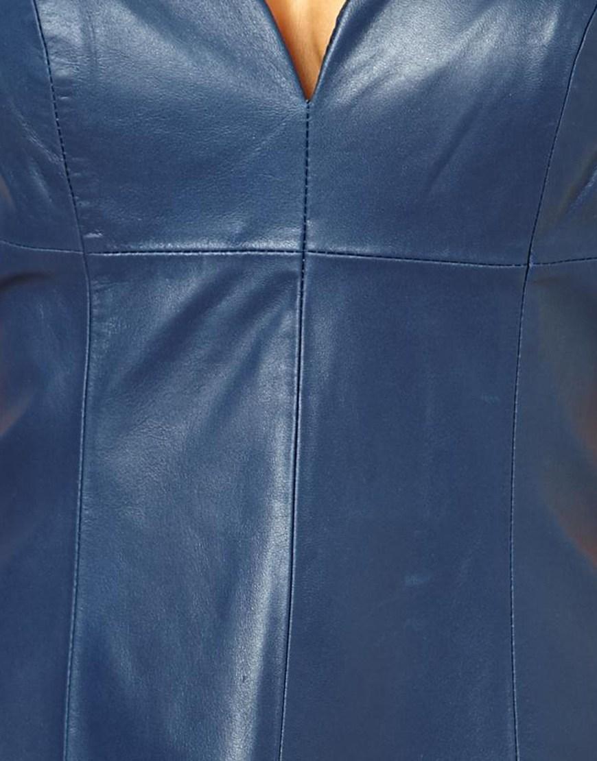 Asos Leather Panel Skater Dress In Jade Blue Lyst