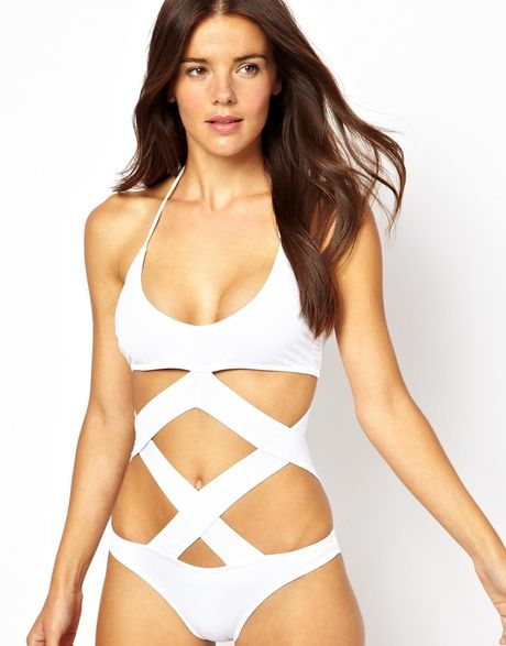 asos cross strap cut out swimsuit in white lyst