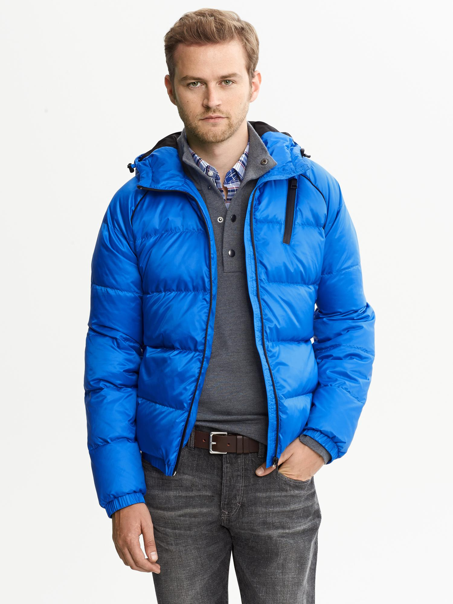 Banana Republic Down Puffer Jacket Damselfish Blue For Men