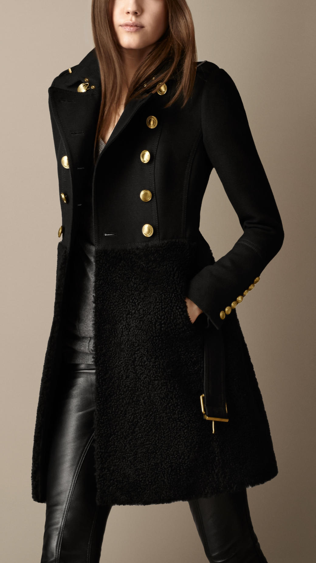 Burberry Shearling Skirt Fitted Coat in Black | Lyst