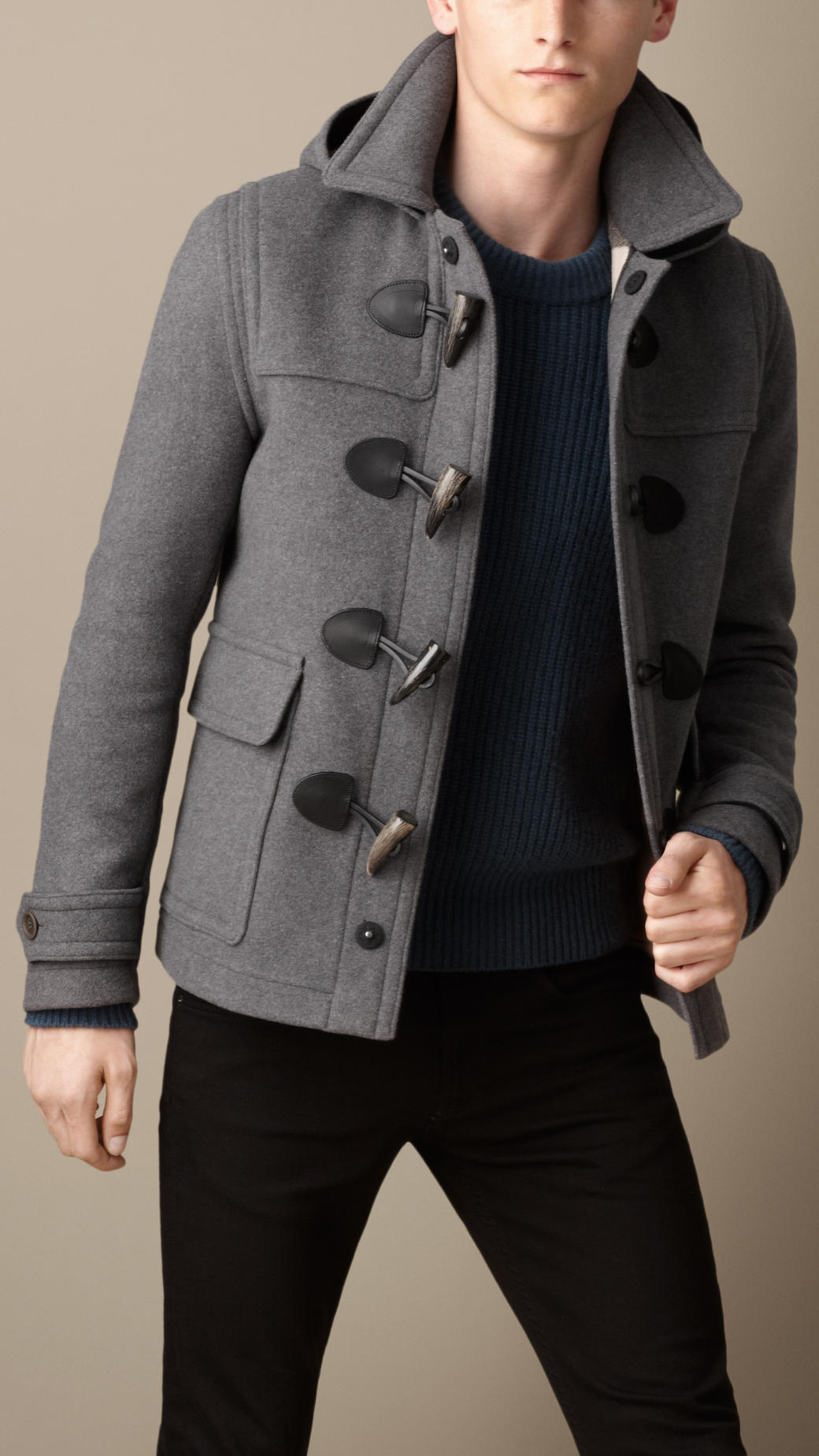 Burberry Wool Duffle Jacket in Gray for Men | Lyst