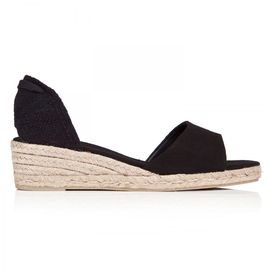 castaner caty canvas espadrille wedge sandals in black lyst
